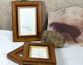 4x6 Rustic Brown Wood and Gold Photo Frame