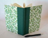 Address book large - forest green with green Florentine - 6x8.5in 15x22cm - Ready to ship