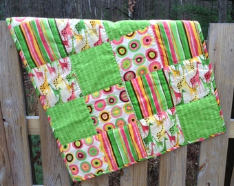 "SALE Patchwork Quilt for Baby / Toddler Giraffe, Stripes, Circles Big, 39x32"" Baby Girl, Boy"