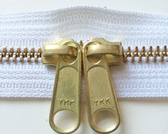 ONE 30 Inch Brass YKK Metal Zipper with Two Long Pull Head to Head Sliders- 501 White