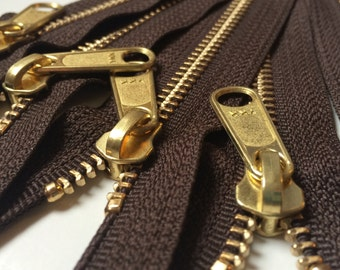 Metal Zippers-Brass Teeth Autumn Brown 8 Inch Heavy Duty Ykk Purse Zippers with a Long Handbag Pull Color 141- 5pcs