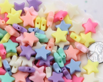 Pastel Star Beads - 14mm Beautiful Bright Pastel Star Acrylic or Resin Beads - 120 pcs set