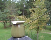 Vintage Enamelware Avocado Green Butter Warmer...Soup Ladle...Creamer...Planter...Polish...Made in Poland...Collectible...Retro Serving