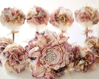 Bridal Flower Rhinestone Pearl Brooches Silk Flowers Blush Victorian