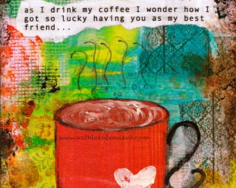 """Coffee with my Best Friend 5""""x7"""" Blank Greeting Card with Envelope, Friendship Card, Cards for Friends, Wholesale Greeting Cards"""