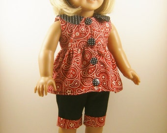 "Made For American Girl Doll and Other 18"" Dolls 3 Piece Set Cowboy Paisley Cuffed Capris and Top with Matching Hair Bow"