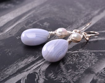Blue Lace Agate, Pearl,Sterling silver Earrings