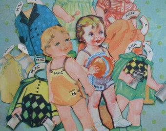 Vintage Mac and Ann Paper Dolls and Clothes