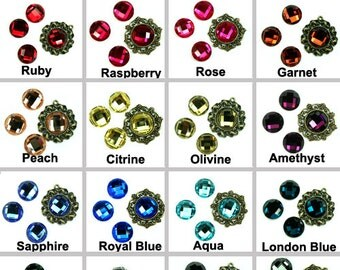 Mirror Glass Cabochon cab 14mm Round Flat Back Checker Cut Faceted Dome -Pick Colors- 4pcs