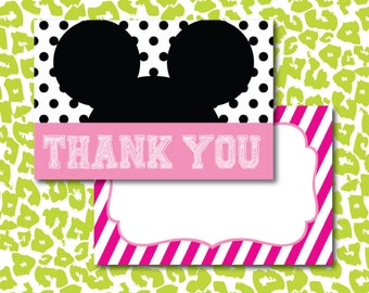 Instant DIY Minnie Mouse Clubhouse Thank You Birthday Fun Cards