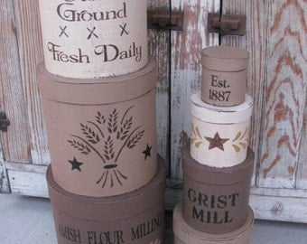 Primitive Amish Flour Mill Set of 7 Round Stacking Boxes Hand Painted GCC5253