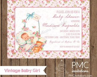 Custom Printed Vintage Shabby Chic Pink Baby Shower Invitations - 1.00 each with envelope