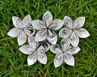 Matilda Recycled Book Paper Flowers {5 Medium Size}