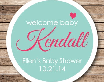 Welcome Baby Personalized Baby Shower Stickers or Tags