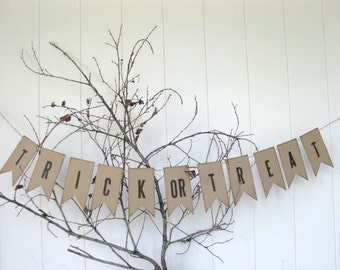 Trick or Treat Banner  - petite paper banner - halloween decor, autumn decor, fall party, halloween banner - photo shoot banner