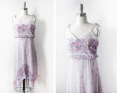 70s floral handkerchief dress, vintage 1970s purple boho sundress, extra small floral disco dress xs