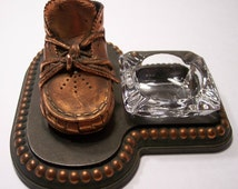 Bronze Baby Shoe with Clear Glass Ashtray  Vintage,  Mid-Century Decor