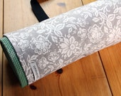 Yoga Mat Bag, Pilates Mat Bag, Gray and White Floral - MADE TO ORDER