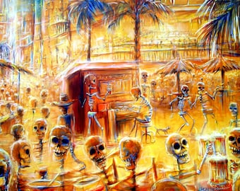 Day of the Dead, 'Happy Hour'  signed print by artist Heather Calderon