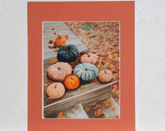 Reproduction, Fall Garden Harvest on Steps, Gourds, Squash and Fall Leaves, Colorful Fall Scene, 10 X 8 reproduction, fits 14 X 11 frame