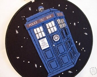 Doctor Who Tardis Embroidery Hoop Wall Art. Dr Who Whovian Geek Mad Man Blue Box Hand Embroidered Hand Stitched Space Time Travel Nerd Geek