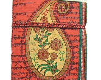 Indian Paisley,Indian Miniature Painting, Art Journal, Orange, Historic Indian Design, Recycled Paper, Handmade Paper, Boteh Buta Design