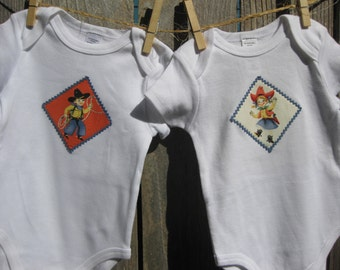Baby Twins - Boy Girl Cowboy Cowgirl Baby Gift set includes Baby Bodysuit, Bib, Burp Cloth - Size NB-12 months