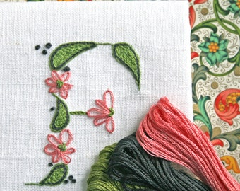 Crewel Embroidery Kit  DIY Pattern pdf  Monogram F is for Florentine instant download flower embroidery kit