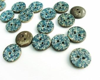 6 Coconut Shell Buttons 15mm - Blue Cottage Pattern (BC702)