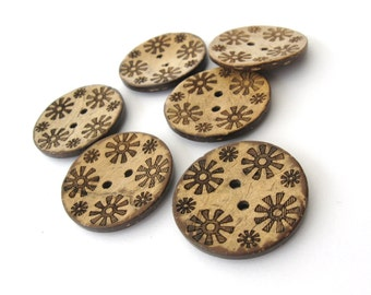 6 Brown flower pattern Coconut Shell Buttons 28mm - Natural and Eco Friendly round sewing button  (BC605B)
