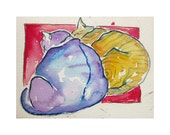 Cat Nap - Print of Watercolor of Two Colorful Cats