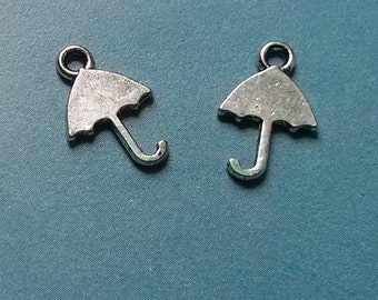 SALE, 10 tiny double-sided umbrella charms, antiqued silver tone, 15mm