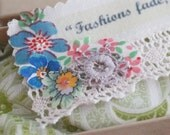 Floral Linen Bookmark - 'Fashions fade....Yves Saint Laurent'