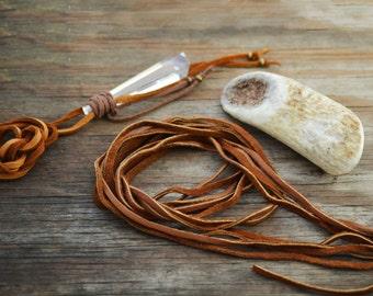 Chocolate Brown Deer Suede Leather, 3mm x 40 in strap (1 pcs) / Deerskin, Deer hide, Buckskin, Soft Deer Suede, Jewelry Supplies