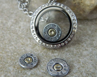Stainless Steel Floating Locket Necklace w/Bullet charms