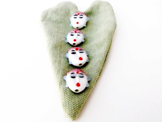 Face Bead Glass Bead Face Jewelry Bead 4 Beads Bead supply Jewelry Supply red blue black Necklace bracelet jewelry supply #174