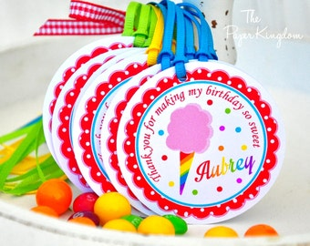 Cotton Candy Hang Tags, Cotton Candy Birthday Party, Gift Tags, Favor tags - Set of 12