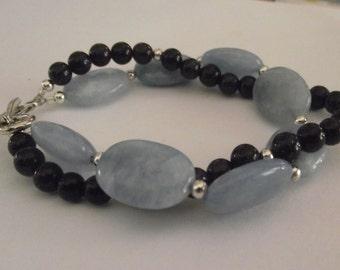Chunky Double strand Aquamarine and Stardust bracelet