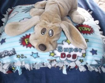 """Handmade Fleece Dog Bed Filled """"Super Dog""""  No Sew"""