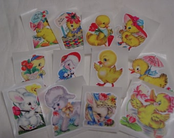 Vintage Easter Stickers, Seals for embellishing Tags, Cards, Scrapbooking,  Cupcake Toppers, Envelopes, 12 Peel N Stick Stickers