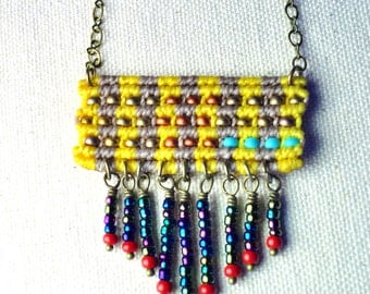 Woven Pendant with beaded fringe