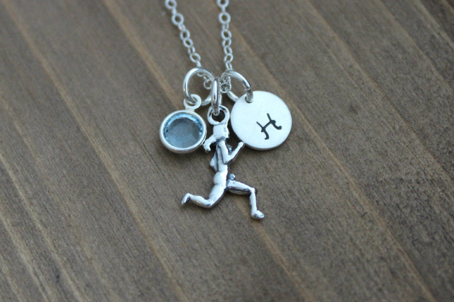 runner girl sterling silver charm necklace by beachcovejewelry