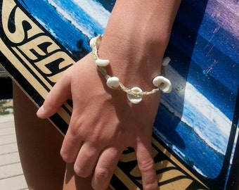 Hemp Bracelet or Anklet with Surf Puka Shells