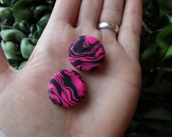 """Pink and Black Plugs 7/8 """" Clay. OOAK Gauges"""