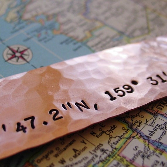 Latitude Longitude Bookmark, Copper Gift, Custom Made, GPSCoordinates, Nautical Location, Wedding Gift, Seventh Anniversary Gift, Mens Gift