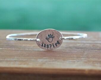Inspire Bangle Bracelet - Teacher Gift, Motivational Jewelry, Inspirational Jewelry, Sterling Silver Bangle, Teacher Appreciation Gift