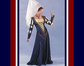 Romantic Camelot Medival Gown -Costune Sewing Pattern-Dramatic Headpiece-Veil-Three Puff Sleeves-V Bodice- Lace Up- Uncut- Size 6-12 -Rare