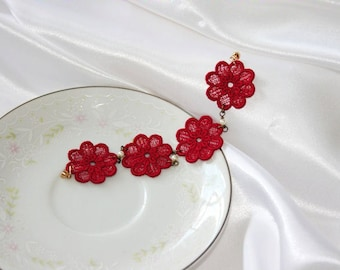 Dahlia BRACELET Vintage Inspired - Wedding - Bridal - Cherry Red - Free Standing Lace Embroidery - Adult Medium 7 1/4