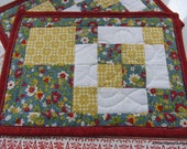 Quilted Patchwork Mug Rugs Set of 2 Red Blue Yellow White Floral