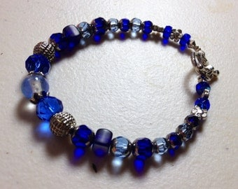 Sapphire and Cobalt Blue, Silver and Light Blue Czech Glass Bracelet  SALE